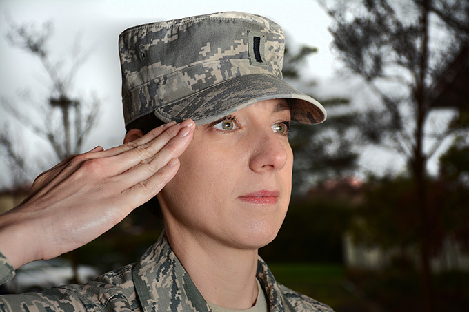 Customs and courtesies, 1st. Lt. Heather Bradley shows a proper salute