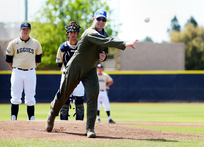 349 AMW Commander throws first pitch for U.S. Air Force Academy Falcons